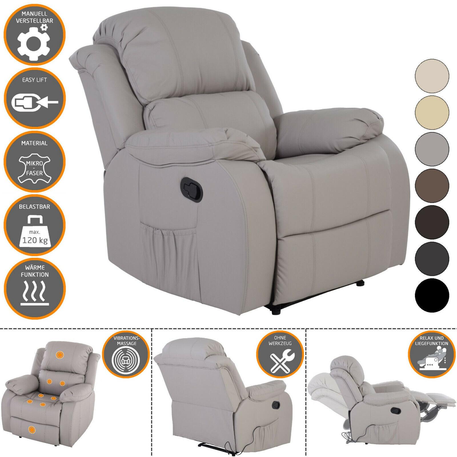 Fernsehsessel HANNE + elektrischer Massage + Wärme XXL Schlafsessel in GRAU