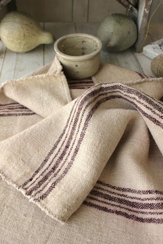 Antique GRAIN SACK feedsack feedbag old linen hemp vintage interior textile RARE