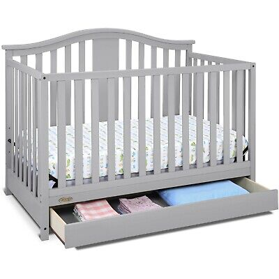 4 in 1 Convertible Crib Drawer Storage Toddler Bed Nursery Daybed Safe Finish