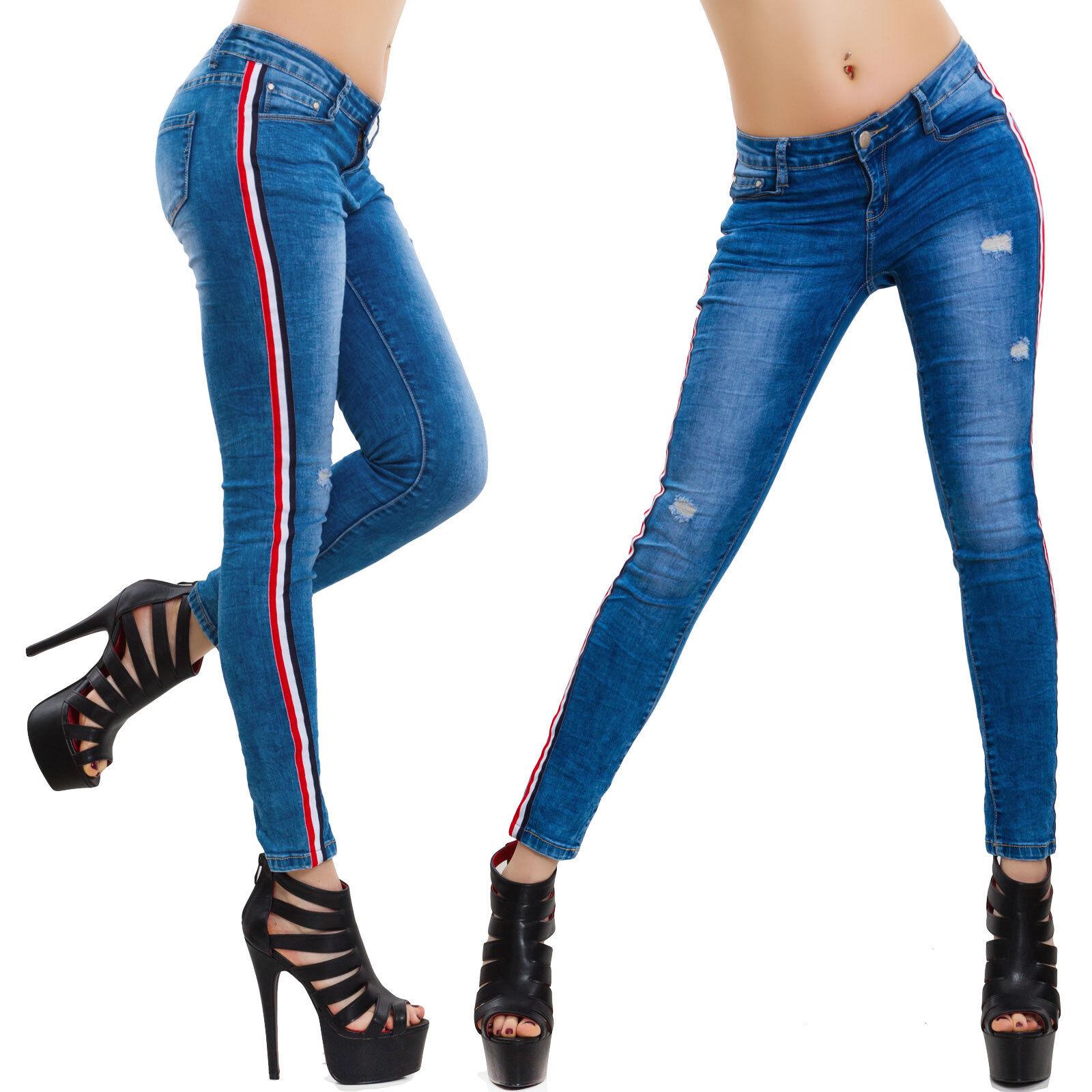 122ede1e54 Dettagli su Jeans donna pantaloni skinny elasticizzati righe laterali vita  bassa sexy G2851