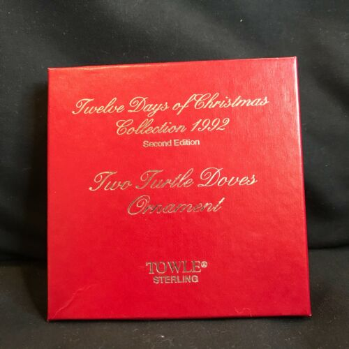 NEW Towle 1992 2nd Ed Two Turtle Dove WREATH 12 Days Sterling Christmas Ornament