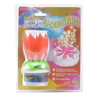 Rotating Happy Birthday Candle Lotus Flower Orange Party Cake Decorations