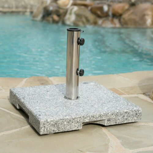 Martino Outdoor Natural Grey Granite and Stainless Steel Umbrella Base Garden Structures & Shade