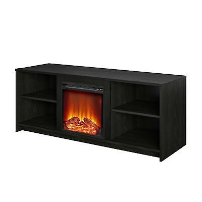 """Mainstays Fireplace TV Stand for TVs up to 65"""" Black Oak"""