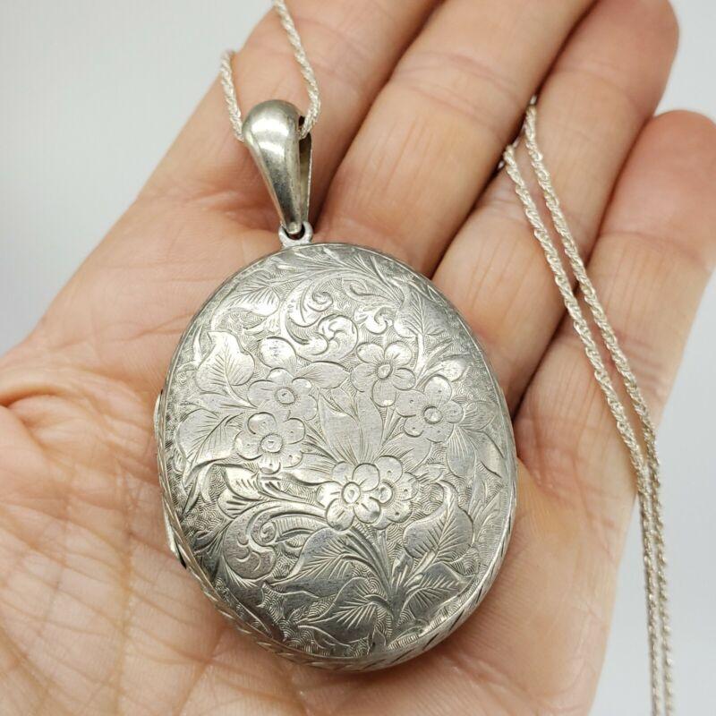 XL Sterling Silver Locket Pendant Victorian Antique Pill Box Powder Photo Case