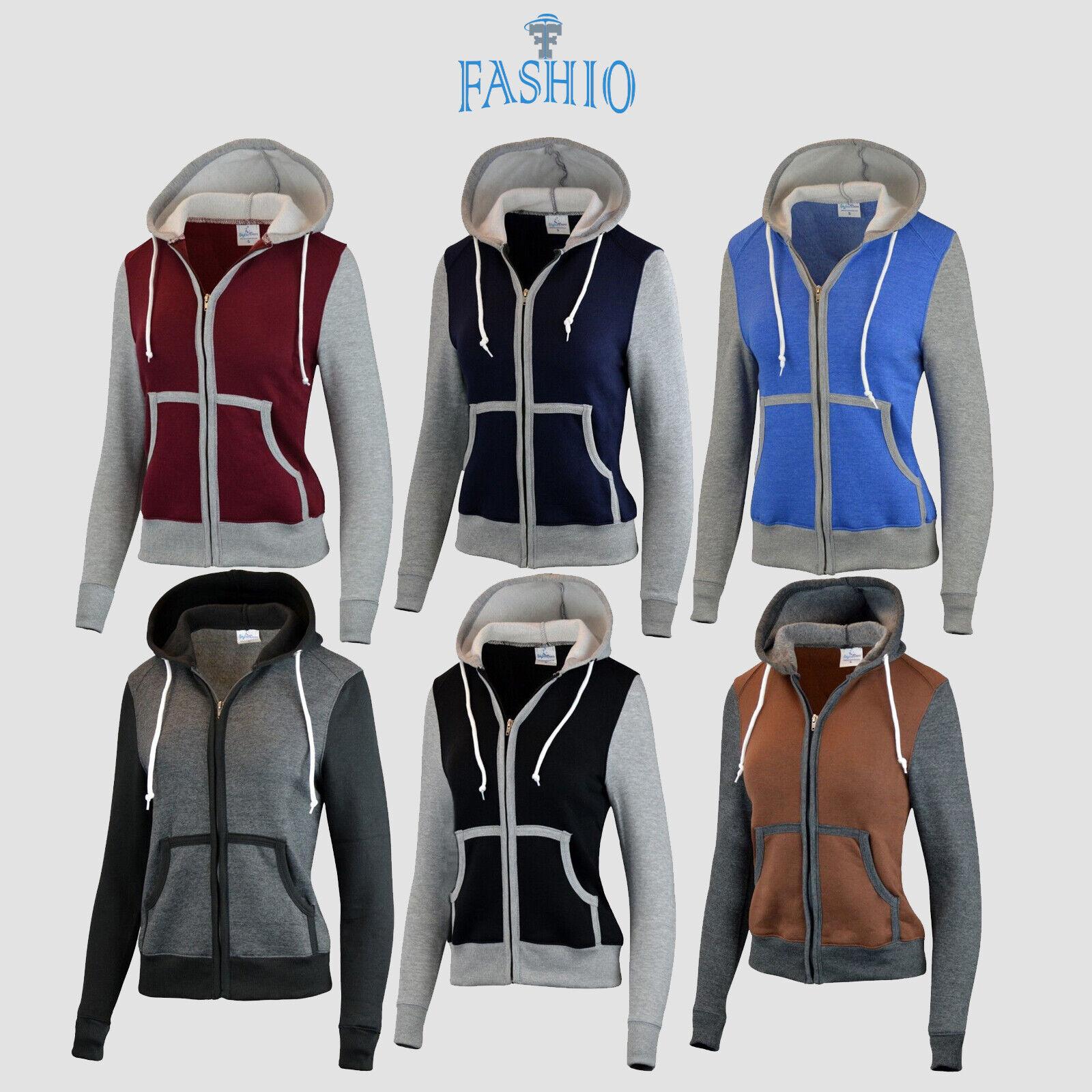 Women's Slim Fit Fleece Hoodie Full Zip jacket Sweatshirts