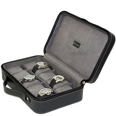 10 Watch Case Compact Travel Briefcase Black Leather Zipper TS5974BK