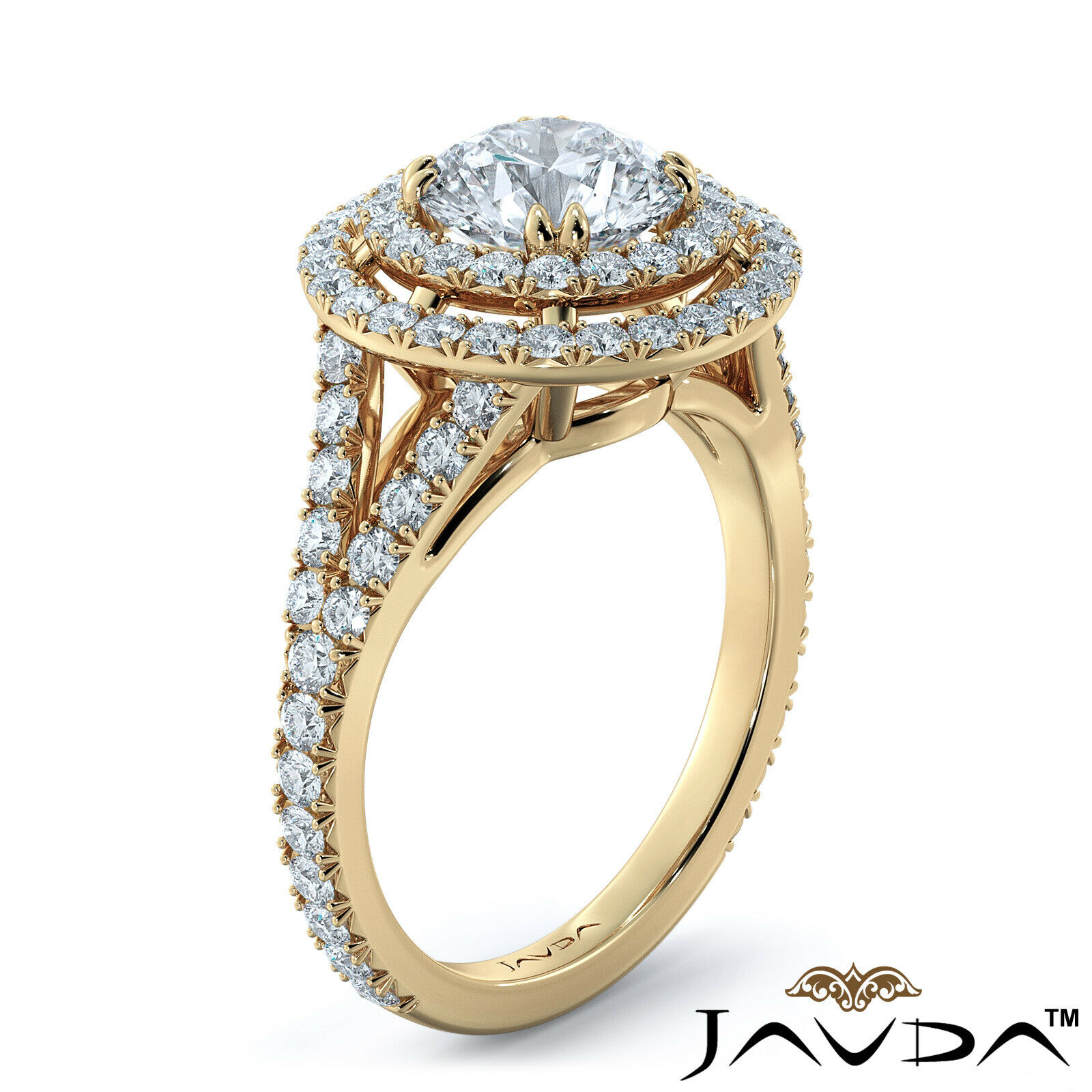 2.05ct French Pave Gala Halo Round Diamond Engagement Ring GIA F-VVS1 White Gold 8