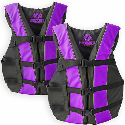 af6b0208a04 2 Pack Hardcore Adult Life Jacket PFD Type III Coast Guard Ski Vest Purple