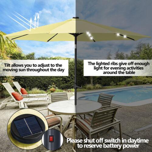 10FT Patio Solar Umbrella 32LED Patio Market Steel Tilt W/ Crank Outdoor Yellow Garden Structures & Shade
