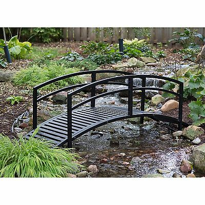 Outdoor Steel Bridge 6 FT Garden Pond Bridges Garden Pond Durable Black