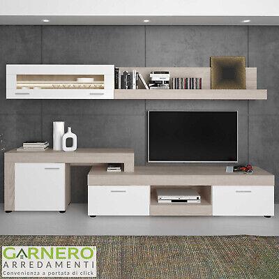Parete attrezzata DELICIA Gihome ® rovere bianco moderna mobile tv soggiorno