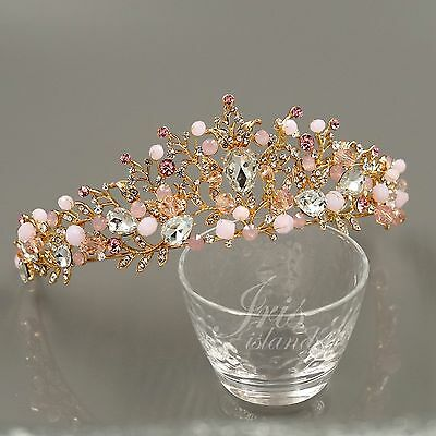 Pink Crowns (Pink Austrian Crystal Rhinestone Tiara Crown Bridal Party Pageant 0584 Rose)