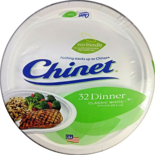 """Chinet Classic 32 Classic White Dinner Plates 10 3/8"""""""