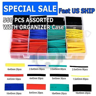 560 Pcs 21 Heat Shrink Tube Tubing Sleeving Wrap Wire Cable Insulated Assorted