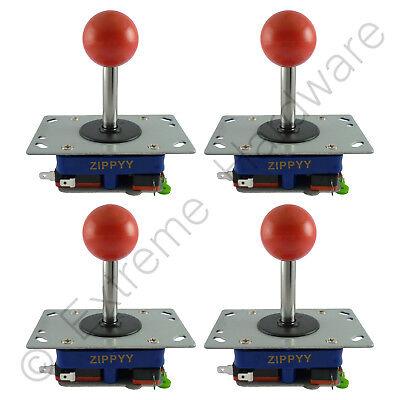 4X Zippyy Largo Eje Bola Superior Arcade Joysticks 2/4/8 Modos (Rojo) Mame
