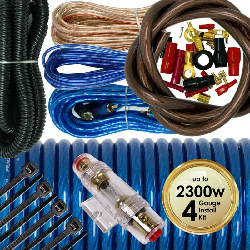 Audiotek 4 Gauge Amp Kit Amplifier Install Wiring Complete 4 Ga Wire 2300W Blue