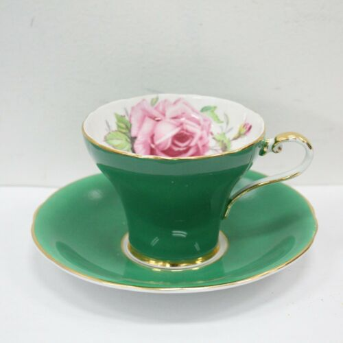 Aynsley Vintage Pink Cabbage Rose Emerald Green Bone China Tea Cup & Saucer C957