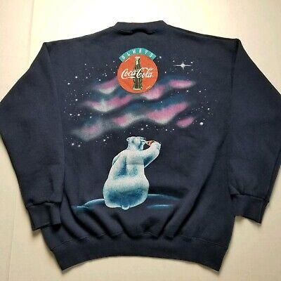Vtg 1994 Coca-Cola Sweatshirt Mens L Polar Bears Aurora Borealis Coke 90s B20