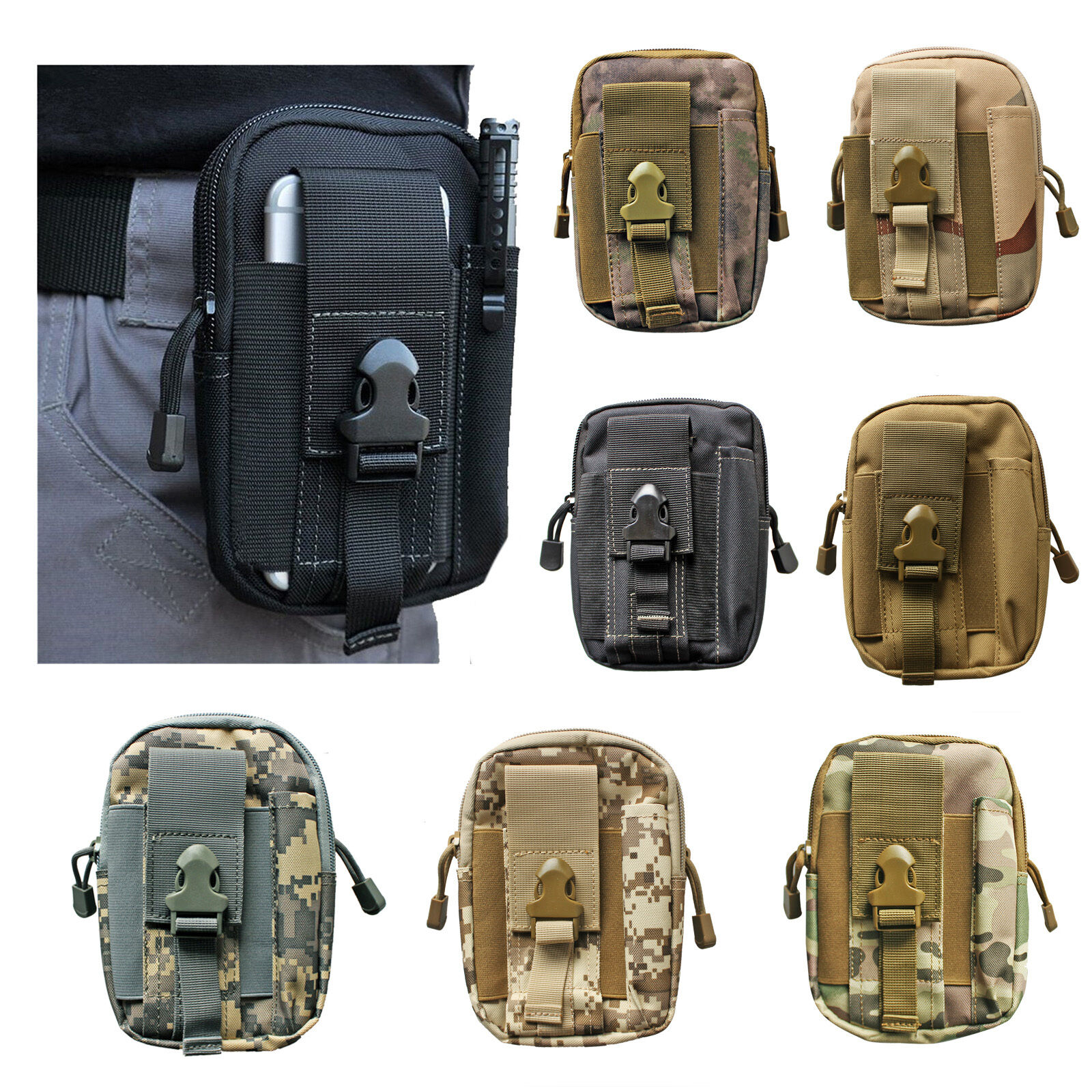 Waterproof Pouch Handbags Waist Belt Pack Military Tactical School Bag Wallet