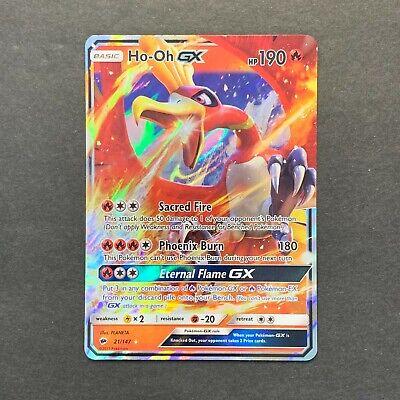 NM Pokemon HO-OH GX Card BURNING SHADOWS Set 21//147 SM Sun and Moon Ultra Rare