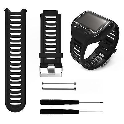 Black Silicone Watch Band Strap + Tool Kit For Garmin Forerunner 910XT GPS Watch