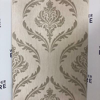 Beige Brown Textured Vinyl Damask Wallpaper Slightly Imperfect