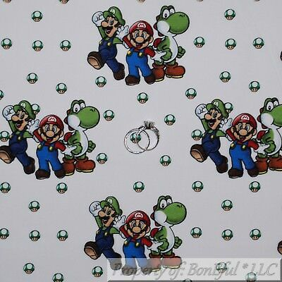 Mario Bros Characters Costumes (BonEful FABRIC FQ Cotton Quilt White Black B&W Red Super Hero Mario Brother)