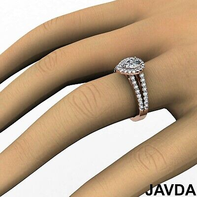 Halo French Setting Pear Diamond Engagement Split Shank Ring GIA F VS1 1.25 Ct 11