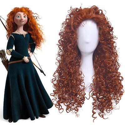Brave Merida Cosplay Wigs Long Curly Wavy Wave Orange Brown Women Anime Hair - Adult Merida Wig