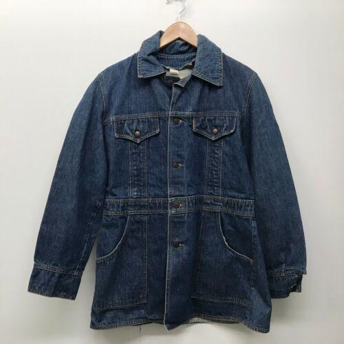 Vintage Levis Long Denim Jacket / Orange Tab Work Hippie Chore Coat 70s c-76