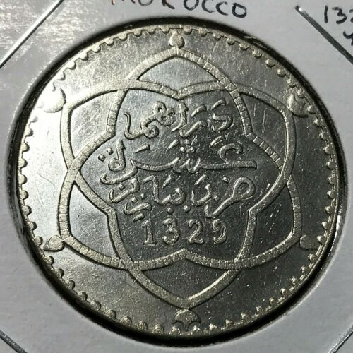 MOROCCO SILVER YEAR 1329 20 DIRHAM CROWN COIN HIGH GRADE