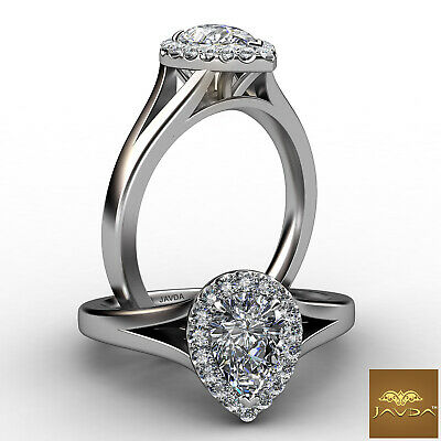 Halo French Set Pave Split Shank Pear Diamond Engagement Ring GIA H VVS2 0.7Ct