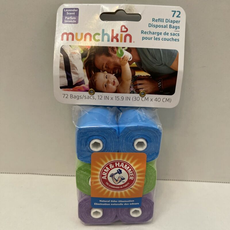 Arm and Hammer Diaper Bags Refills Fits Munchkin Diaper Bag Dispensers 72 Count
