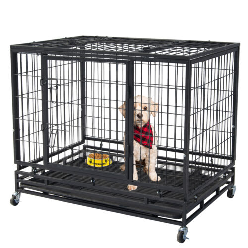 """46"""" Pet Dog Cage Heavy Duty Strong Metal Wire Crate Kennel Playpen for Training"""