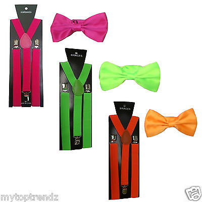 Slim Adjustable Clip-on Braces Suspender and Dickie Bow Tie Set in Bright - Bow Tie Kostüm Set