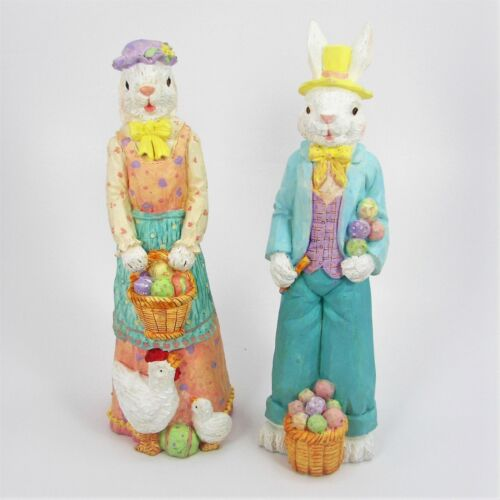 """Easter Bunny Resin Figurines 10"""" Mr & Mrs Rabbit With Baskets Of Eggs & Chickens"""