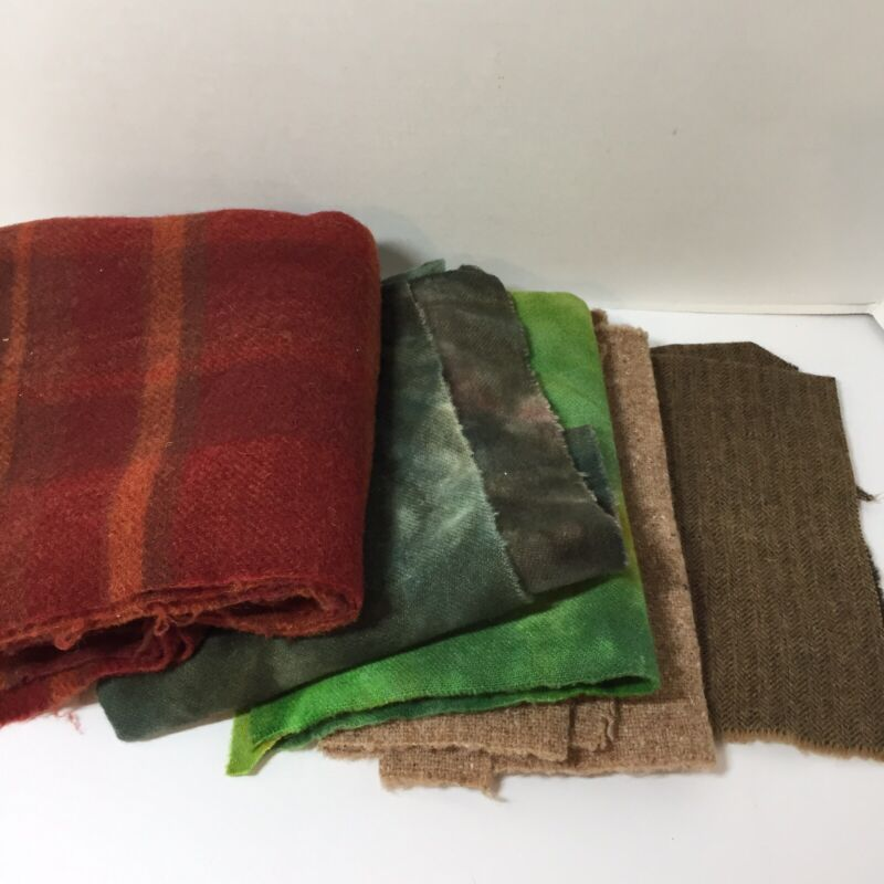 13.7 Ounces of Felted Wool Dyed Rug Quilt Fabric Lot E