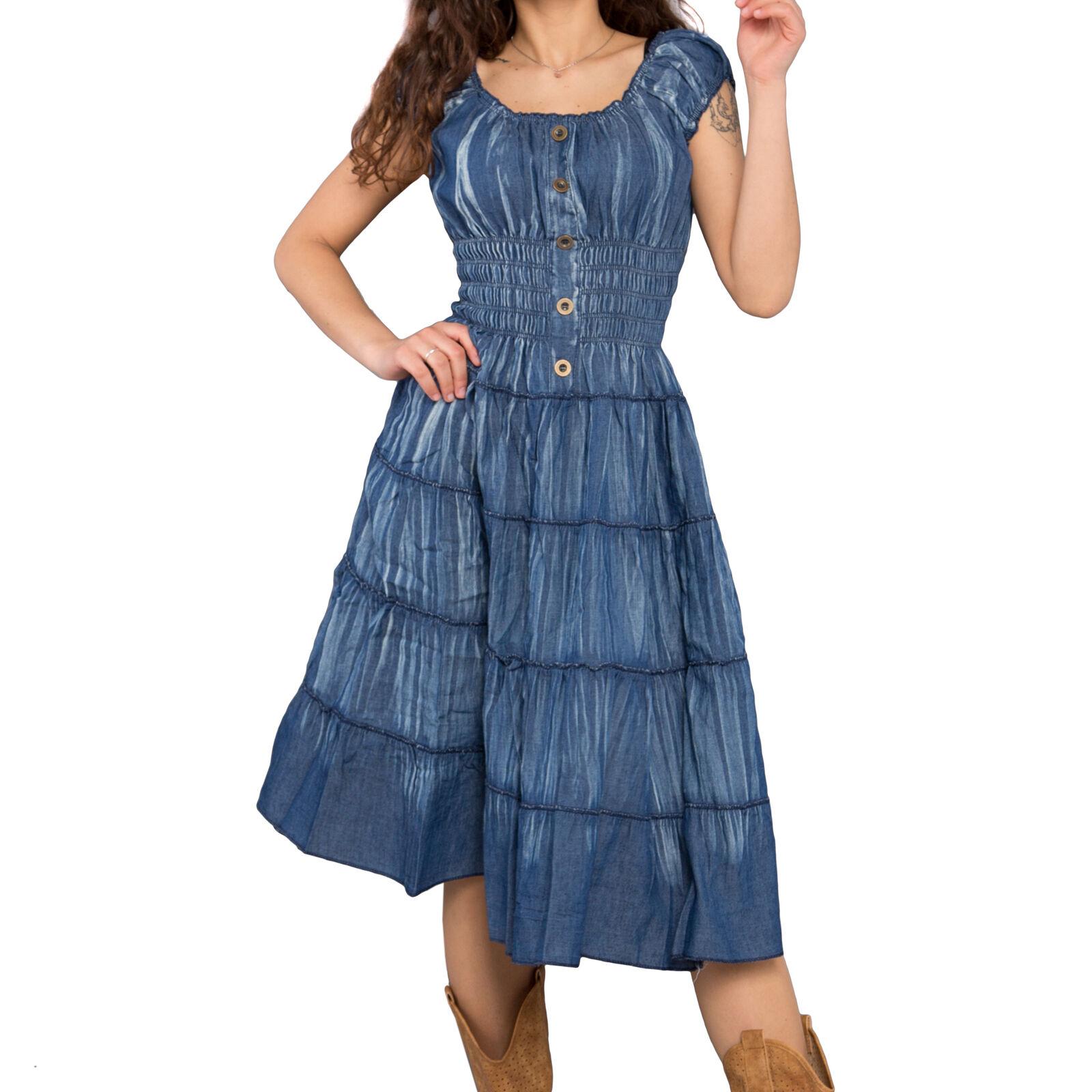 Vestito donna abito jeans elastico scollato zingara al ginocchio balze new 638 7