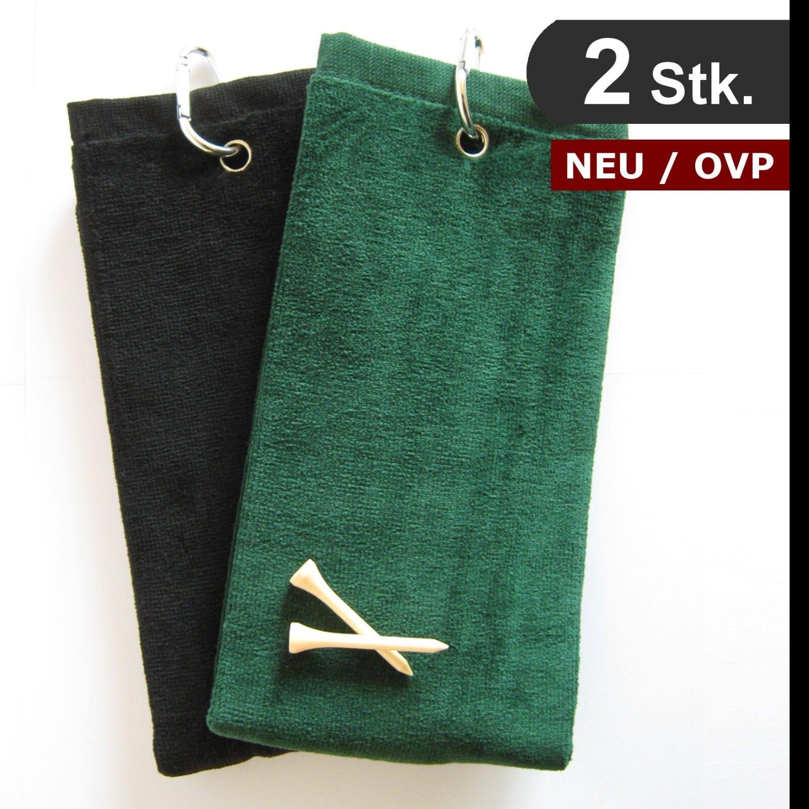 2 Stk Golf Towel / Handtuch / 50 x 35cm, tri-fold / 1A-Qualität / schwarz + grün