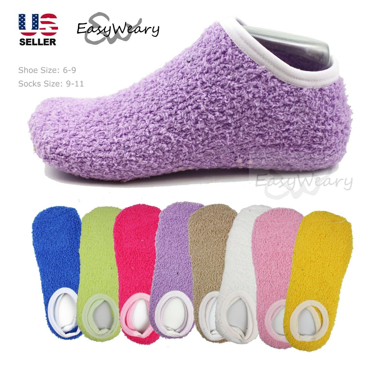 Lot 5 Pairs Womens Fuzzy Warm Soft Cozy Slippers Socks Non-S