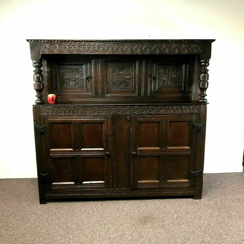 Large 17th Century Carved English Oak 2 Part Court Cabinet