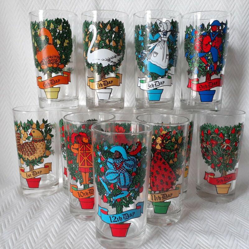 Vintage Twelve Days Of Christmas Drinking Glasses- Complete Set-Indiana Glass