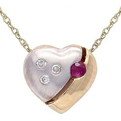 Gold Round Ruby Heart (10k Two Tone Gold 18