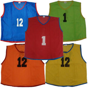NUMBERED 1-12 LOT OF 12 ADULT SIZE MESH SCRIMMAGE VESTS PINNIES NEW