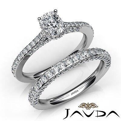 2.85ctw Pave Circa Halo Bridal Cushion Diamond Engagement Ring GIA F-VS1 W Gold