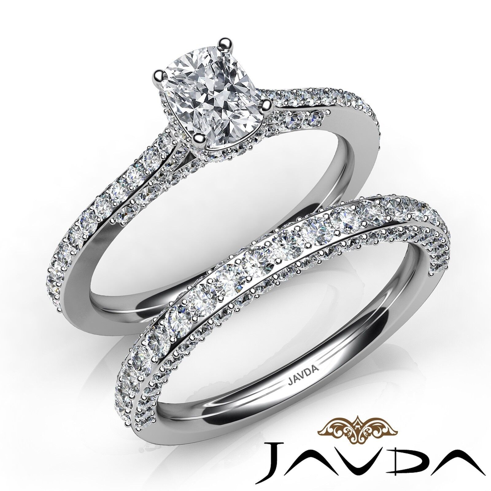 2.85ctw Pave Circa Halo Bridal Cushion Diamond Engagement Ring GIA F-VS1 W Gold