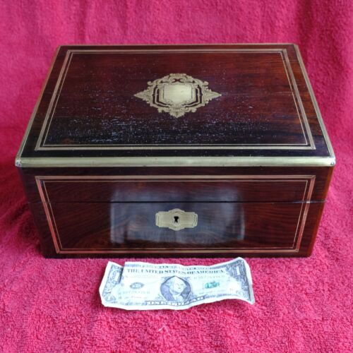 Antique Traveling Writing Box / Writing Lap Top  Brass Inlaid + key