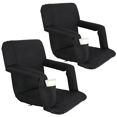Cushion 5 Position - 2 PCS Black Wide Stadium Seat Bleacher Chair Cushion - 5 Reclining Positions