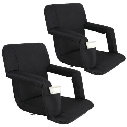 2 PCS Black Stadium Seat Bleacher Chair Cushion – 5 Reclining Positions Other Outdoor Sports
